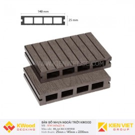 Sàn gỗ bể bơi ngoài trời Kwood KW140x25-4 Black Coffee