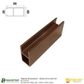 Thanh lam gỗ nhựa phủ phim Việt Pháp Gplast TL02F001 | 80x40mm