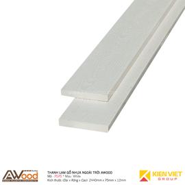 Thanh lam gỗ nhựa ngoài trời Awood PS75x12mm White
