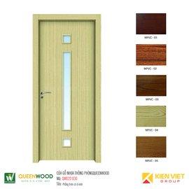 Cửa gỗ nhựa thông phòng Queenwood QW02D-830 phẳng trơn có ô kính