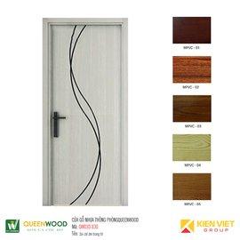 Cửa gỗ nhựa thông phòng Queenwood QW03D-830 soi chỉ âm trang trí