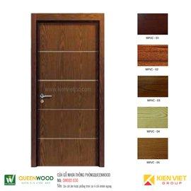 Cửa gỗ nhựa thông phòng Queenwood QW08D-830 Soi chỉ âm hoặc phẳng trơn soi 4 chỉ nhôm ngang