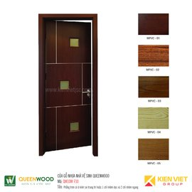 Cửa gỗ nhà vệ sinh Queenwood QW10W-710 phẳng trơn có ô kính soi trang trí hoặc 1 chỉ nhôm dọc và 2 chỉ nhôm ngang