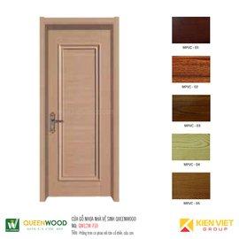 Cửa gỗ nhà vệ sinh Queenwood QW12W-710 phẳng trơn có phào tân cổ điển, cửa sơn