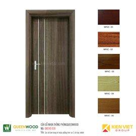 Cửa gỗ nhựa thông phòng Queenwood QW24D-830 Soi chỉ âm trang trí hoặc phẳng trơn soi 2 chỉ dọc nhôm