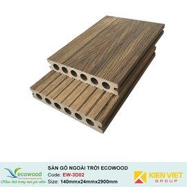 Sàn gỗ ngoài trời 3D rỗng EcoWood EW-3D02 | 140x24mm
