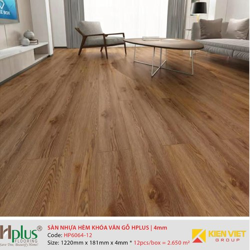 Sàn nhựa hèm khóa vân gỗ HPlus HP6064-12 | 4mm