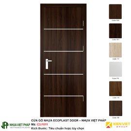 Cửa gỗ nhựa Việt Pháp soi chỉ kim loại C3-F011