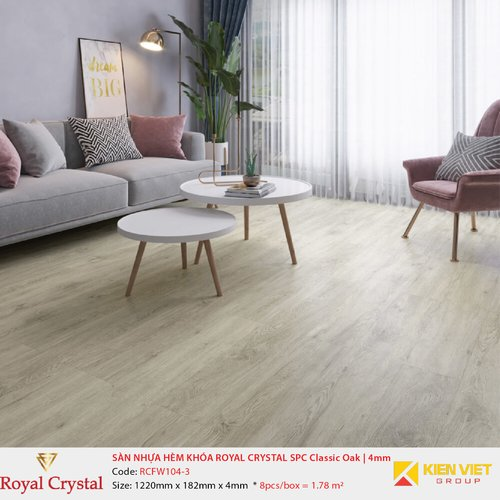 Sàn nhựa hèm khóa Royal Crystal SPC Classic Oak RCFW104-3 | 4mm