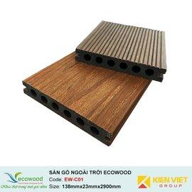 Sàn gỗ ngoài trời 2 lớp rỗng EcoWood EW-C01 | 138x23mm