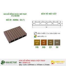 Sàn gỗ rỗng ngoài trời Việt Pháp SGR06-GI 4 lỗ | 21x145mm