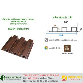 Gỗ nhựa Việt Pháp WPVC Ecoplast W01B3.0 | Walnut 30x206mm