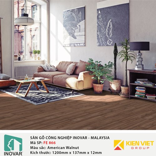 Sàn gỗ Inovar Formed Edge FE866 American Walnut | 12mm