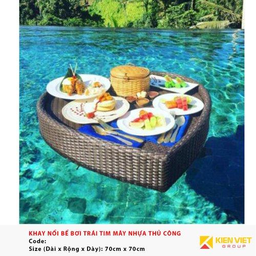 Khay nổi bể bơi hình trái tim KN09 | 70x70cm