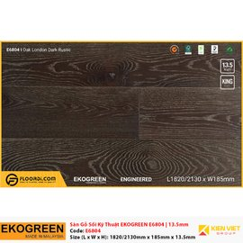 Sàn gỗ Sồi kỹ thuật Ekogreen E6804 Oak London Dark Rustic | 13.5mm