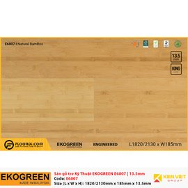 Sàn gỗ tre kỹ thuật Ekogreen E6807 Natural BamBoo | 13.5mm