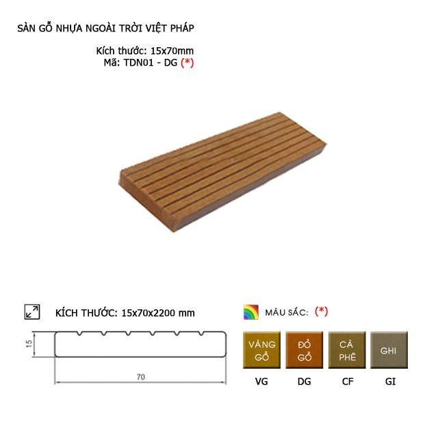 Sàn gỗ nhựa ngoài trời Việt Pháp TDN01-DG | 15x70mm
