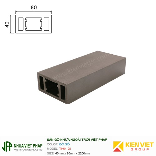 Sàn gỗ nhựa ngoài trời Việt Pháp TH01-GI   40x80mm