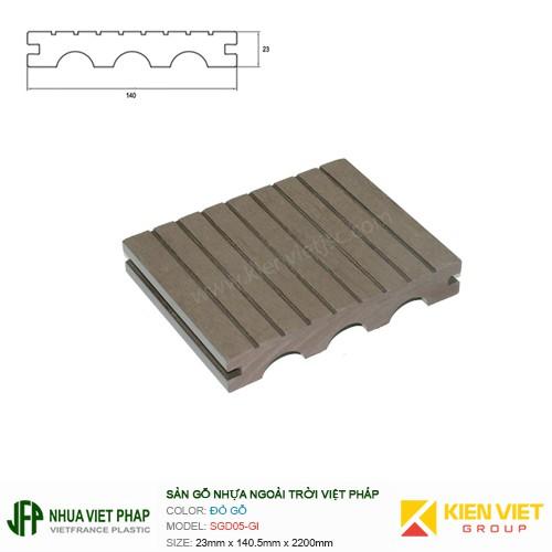 Sàn gỗ đặc Việt Pháp mặt lõm SGD05-GI   23x140mm