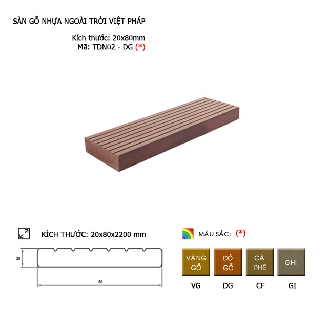 Sàn gỗ ban công thanh đa năng Việt Pháp TDN01-DG | 20x80mm