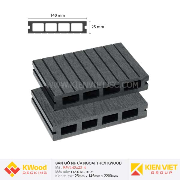 Sàn gỗ bể bơi ngoài trời Kwood KW140x25-4 Dark Grey