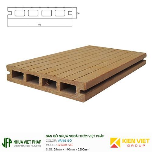 Sàn gỗ nhựa ngoài trời Việt Pháp SRG01-VG 4 lỗ   24x140mm