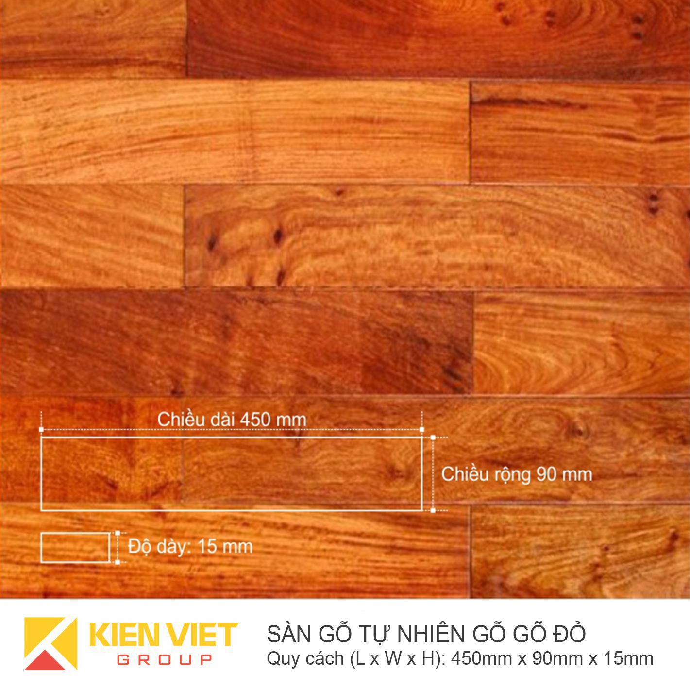 Sàn gỗ tự nhiên gõ đỏ 450x15mm