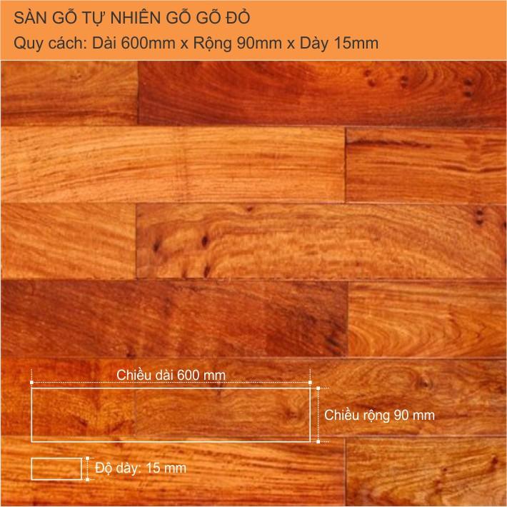 Sàn gỗ tự nhiên gõ đỏ 600x15mm