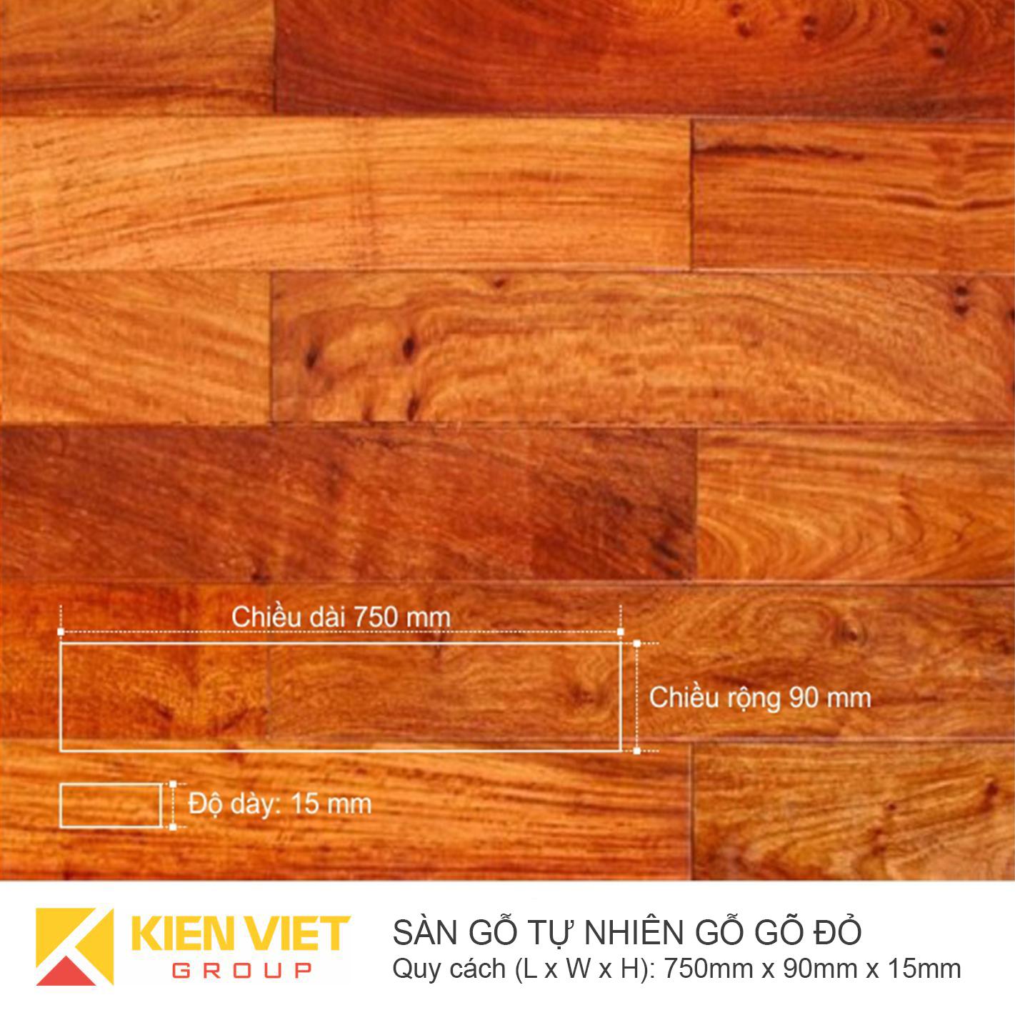 Sàn gỗ tự nhiên gõ đỏ 750x15mm