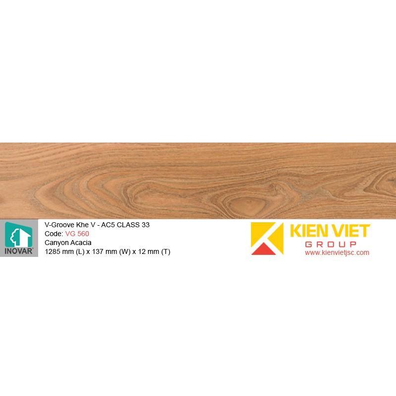 Sàn gỗ Inovar V-Groove VG560 Canyon Acacia   12mm