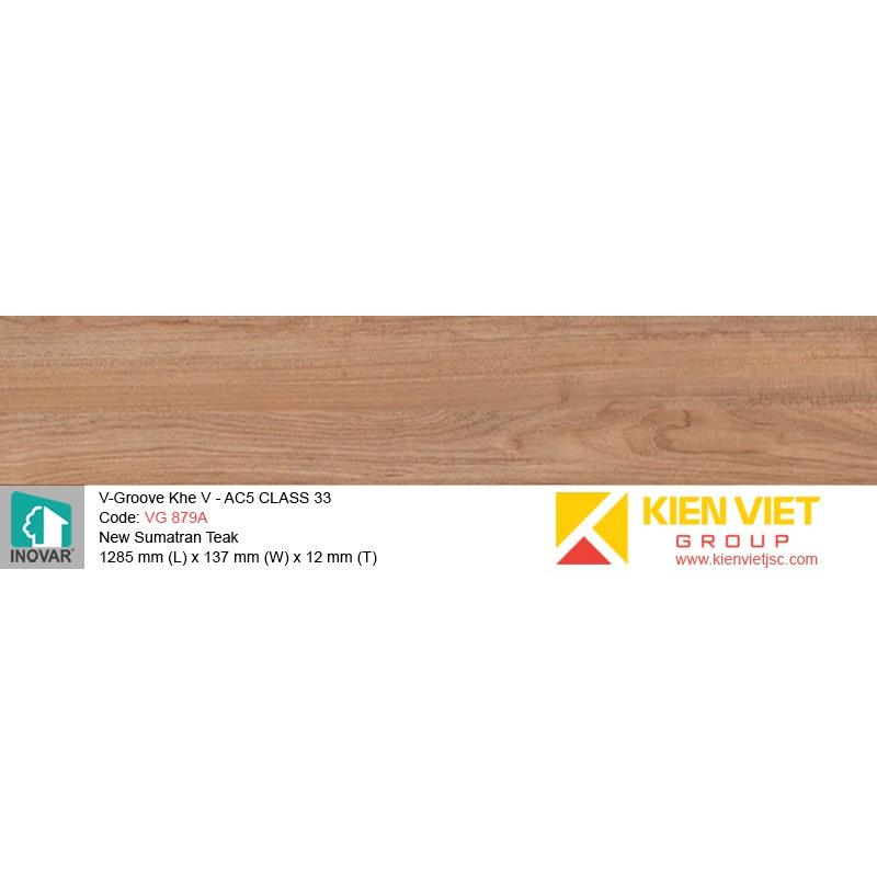 Sàn gỗ Inovar V-Groove VG879A New Sumatran Teak   12mm