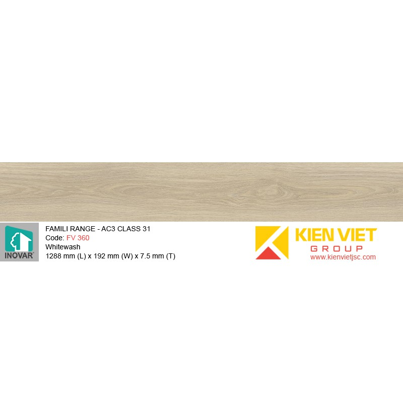 Sàn gỗ Inovar Famili Range FV360 Whitewash | 7.5mm