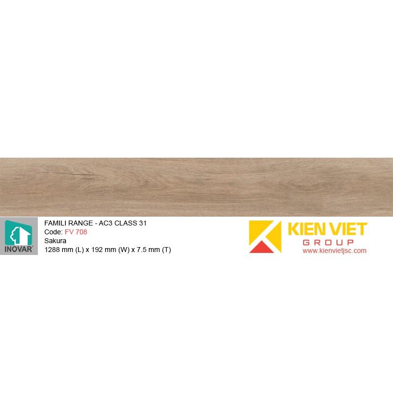 Sàn gỗ Inovar  Famili Range FV708 Sakura | 7.5mm