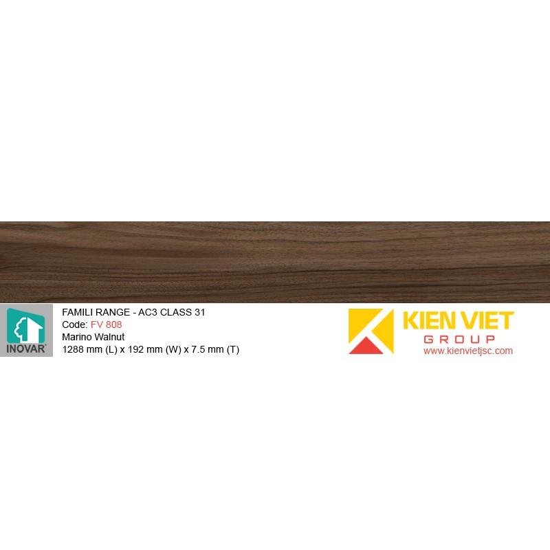 Sàn gỗ Inovar Famili Range FV808 Marino Walnut | 7.5mm