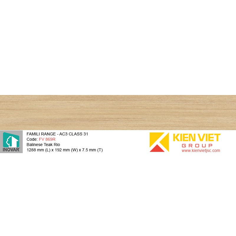 Sàn gỗ Inovar Famili Range FV869R Balinese Teak Rio | 7.5mm