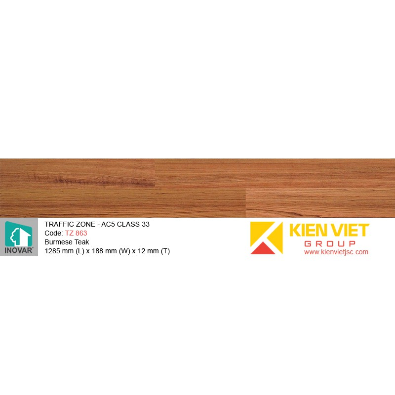 Sàn gỗ Inovar Traffic Zone TZ863 Burmese Teak | 12mm