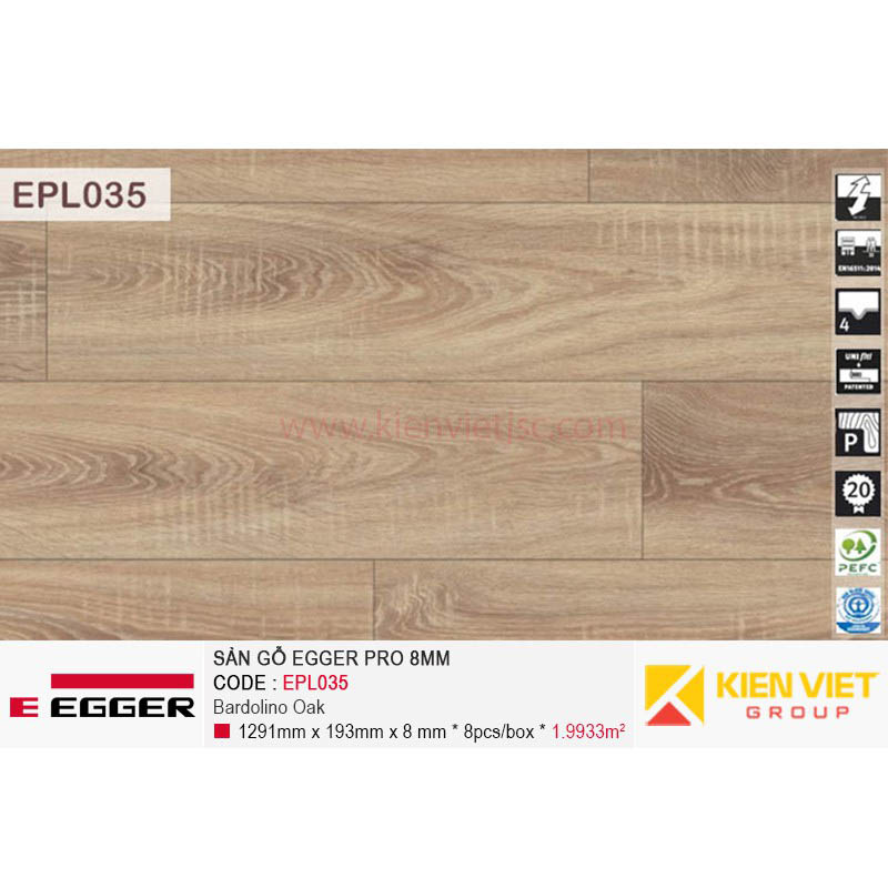 Sàn gỗ Egger Pro EPL035 Bardolino Oak | 8mm