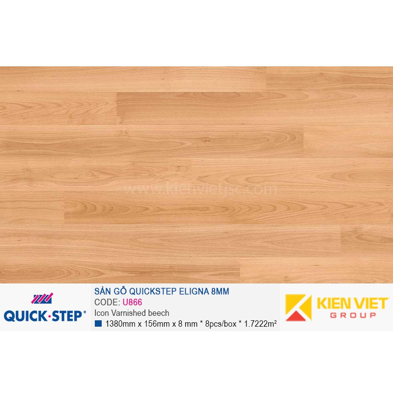 Sàn gỗ Quickstep Aligna Icon Varnished beech U866 | 8mm