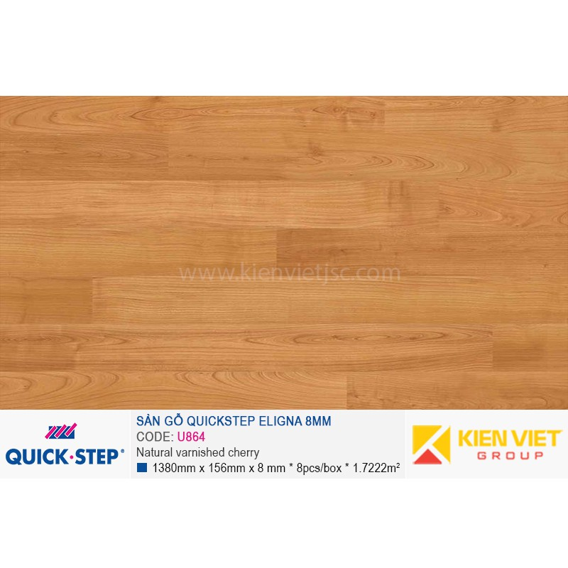 Sàn gỗ Quickstep Aligna Natural varnished cherry U864 | 8mm