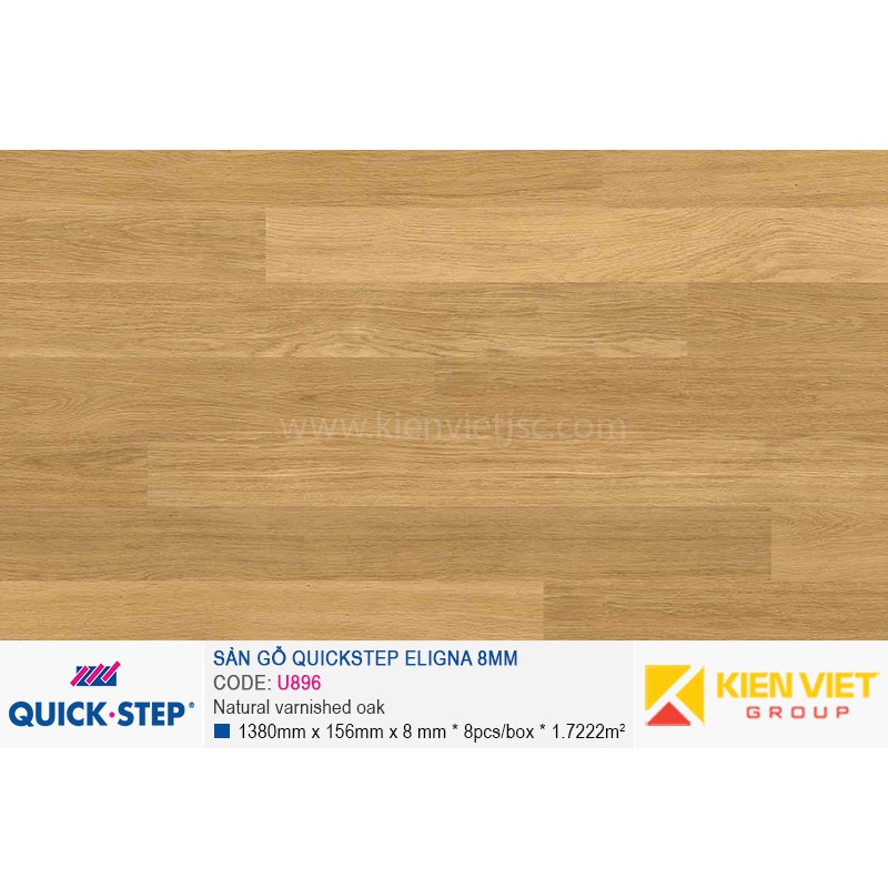 Sàn gỗ Quickstep Aligna Natural varnished oak U896   8mm