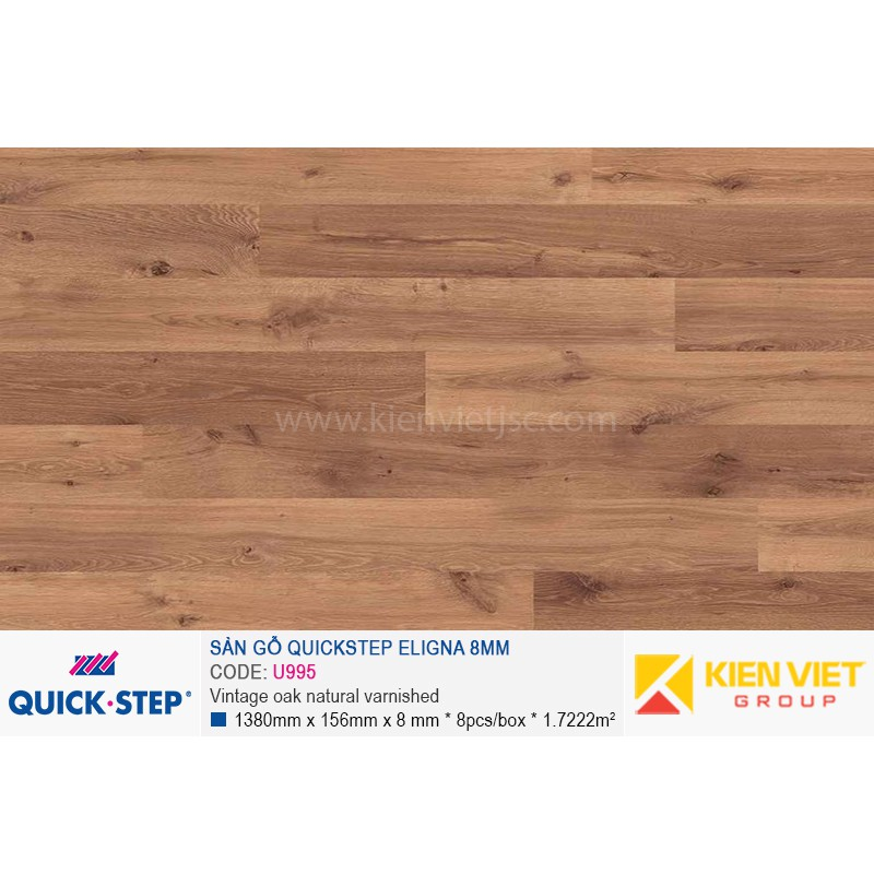 Sàn gỗ Quickstep Aligna Vintage oak natural varnished U995 | 8mm