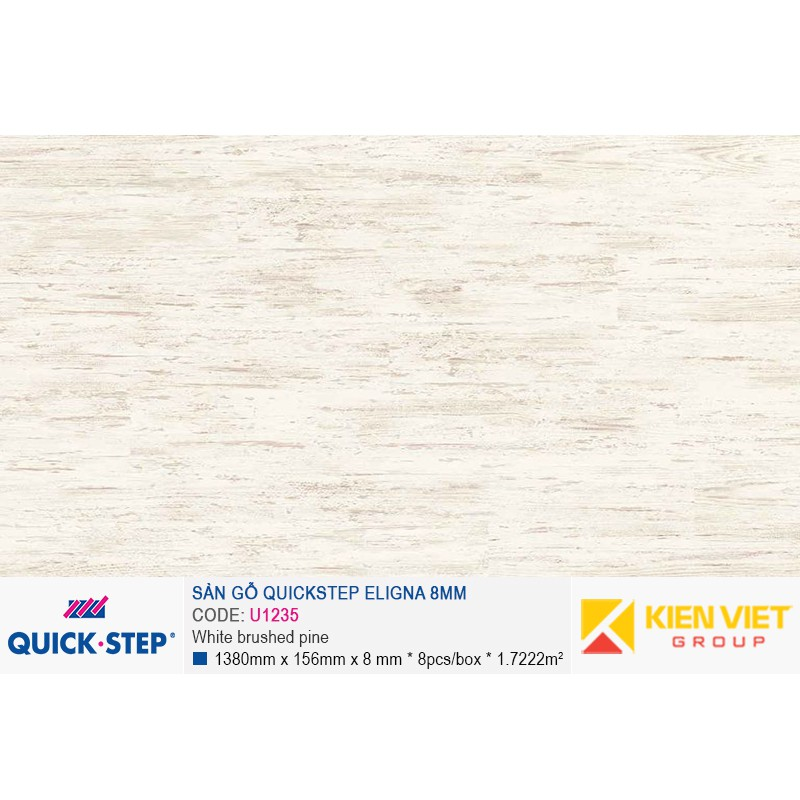 Sàn gỗ Quickstep Aligna White brushed pine U1235 | 8mm