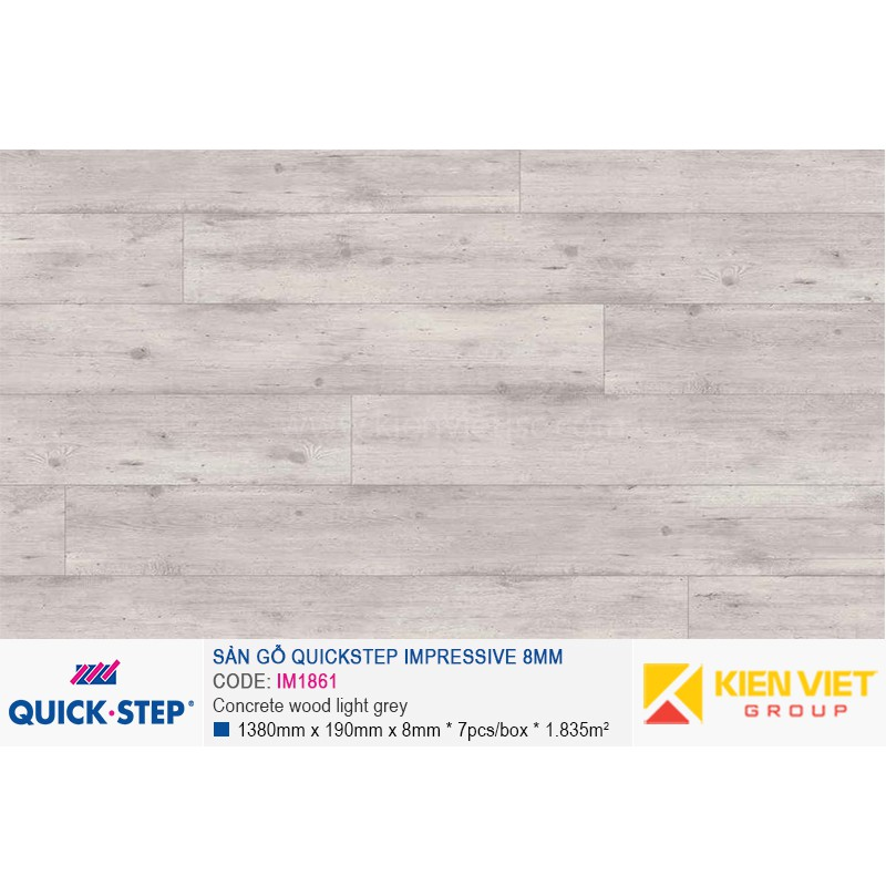 Sàn gỗ Quickstep Impressive Concrete wood light grey IM1861   8mm
