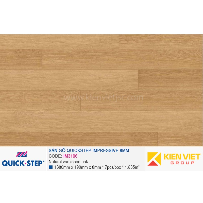 Sàn gỗ Quickstep Impressive Natural varnished oak IM3106 | 8mm