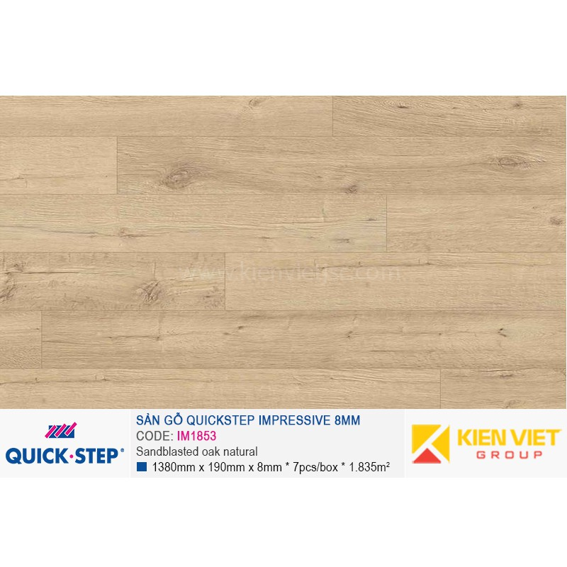 Sàn gỗ Quickstep Impressive Sandblasted oak natural IM1853 | 8mm