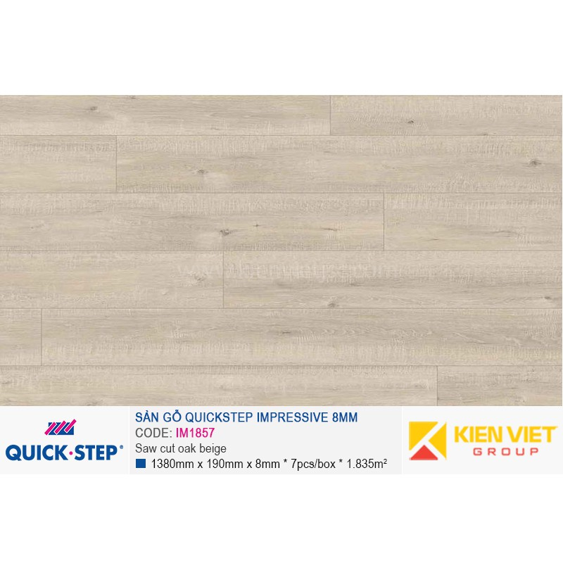 Sàn gỗ Quickstep Impressive Saw cut oak beige IM1857 | 8mm