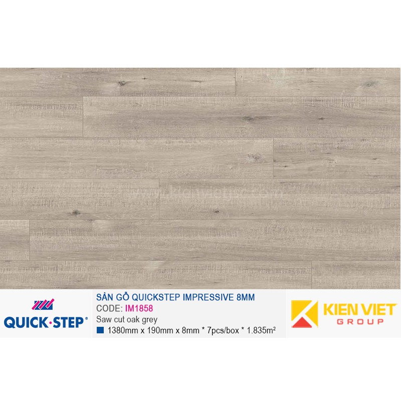 Sàn gỗ Quickstep Impressive Saw cut oak grey IM1858 | 8mm