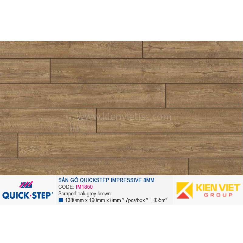 Sàn gỗ Quickstep Impressive Scraped oak grey brown IM1850 | 8mm