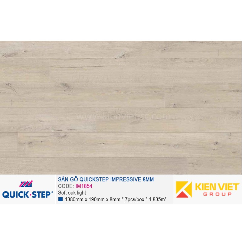 Sàn gỗ Quickstep Impressive Soft oak light IM1854 | 8mm