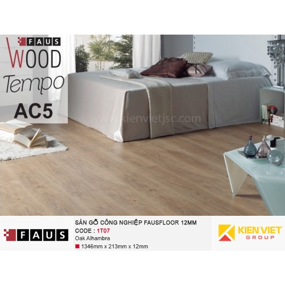 Sàn gỗ công nghiệp FausFloor 1T07 Oak Alhambra | 12mm